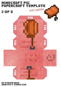 Minecraft pig papercraft template with saddle