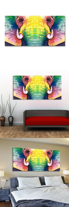 Oil Paintings on Canvas Colorful Animal Face Home Decoration Modern Abstract Oil Painting Wall 1605JJ233 $14.3