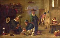 "Flemish painter David Teniers. ""The doctor treating the patient's leg"""