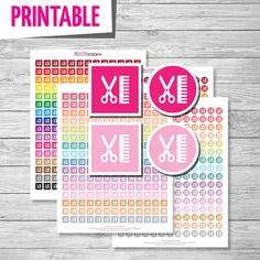 Haircut Planner Stickers, Haircut Printable Stickers PDF, Circle and Square Haircut Icons Stickers - Instant Download // PS45
