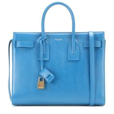 Saint Laurent Sac De Jour Small Leather Tote (€1.450) ❤ liked on Polyvore featuring bags, handbags, tote bags, blue, leather purses, handbags totes, leather tote bags, blue purse and leather handbag tote