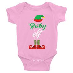 Funny Cute Baby Elf Christmas Baby Infant Bodysuit