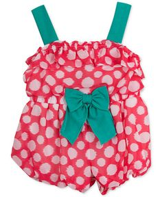 Rare Editions Baby Girls' Coral & White Dot-Print Romper FROM MACY'S