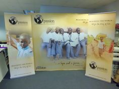 Here we have some amazing looking trade show banners for a group called Her Passion Ministries. The 2 smaller banner stands are retractable. The larger one is a fabric tension hop up stand. This a great setup that is easy to transport and can be set up and taken down easily.  ///  by Sign-A-Rama Nashville (Belle Meade)