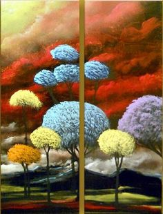 Large painting tree painting cloud painting original painting landscape painting lollipop tree 16 x 24 whimsical pop illustration Mattsart. Landscape Painting Artists, Landscape Artwork, Artist Painting, Canvas Painting Quotes, Moon Painting, Large Painting, Colorful Paintings, Abstract Paintings, Pictures To Paint