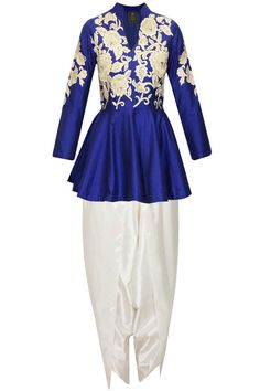 6af3441bb7 Blue dabka embroidered peplum kurta with dhoti pants available only at  Pernia s Pop-Up Shop