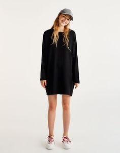Pull&Bear - femme - nouveautés - robe cocoon manches longues - noir - 09395323-I2017