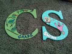 Ninja turtle and sponge bob and patrick Wood letters hand drawn and hand painted www.facebook.com/andbabymakesthreee  and can do any theme or design