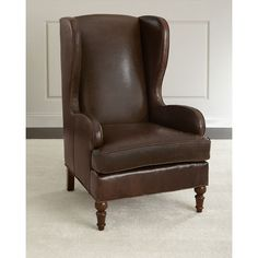 Walker Leather Wing Chair ($2,199) ❤ liked on Polyvore featuring home, furniture, chairs, accent chairs, dark gray, leather furniture, handcrafted furniture, leather occasional chairs, hand made furniture and leather accent chairs
