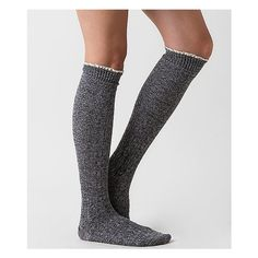 Women's Marled Socks in Grey by Daytrip. ($10) ❤ liked on Polyvore featuring intimates, hosiery, socks, grey, gray socks, daytrip, knee high socks, knee hi socks and knee socks