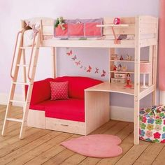 Browse our kids' bunk beds with 5 year warranty and assembly service! Our children's bunk beds come with great storage options and curtains for dens. Cool Loft Beds, Bunk Beds With Stairs, Kids Bunk Beds, Bunk Bed Desk, Loft Bed With Couch, Daybed Couch, Loft Bunk Beds, Bedroom Bed, Girls Bedroom