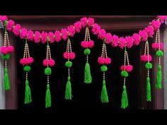 Diy Home Crafts, Diy Arts And Crafts, Decor Crafts, Crafts To Make, Door Hanging Decorations, Diy Diwali Decorations, Flower Decorations, Diwali Diy, Diwali Craft