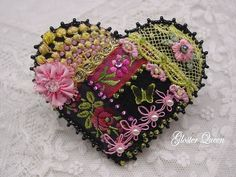 I ❤ crazy quilting and embroidery . . . Black crazy quilt pin with very pretty vintage French black ribbon with roses.