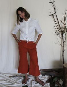 Mabel Culotte Trousers Handmade Clothes, Trousers, Normcore, Skirts, Red, Cotton, House, Shopping, Beautiful