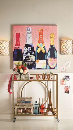 Dining room with bar, dining decor, art for home, diy bar Diy Bar Cart, Gold Bar Cart, Bar Cart Styling, Bar Cart Decor, Ideas Prácticas, Decor Ideas, Bar Ideas, Vintage Bar Carts, Diy Décoration
