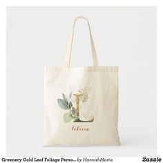 """Greenery Gold Leaf Foliage Personalized Letter """"L"""" Tote Bag Floral Tote Bags, Monogram Tote Bags, Custom Tote Bags, Gold Leaf, Bag Making, Cotton Canvas, Greenery, Reusable Tote Bags, Lettering"""