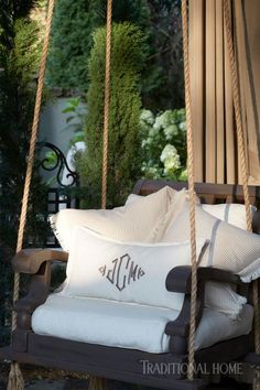 Old chairs were transformed into swings that delight the grandkids. - Photo: Jean Allsopp / Design: Donaldson Landscape & Design