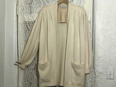 Vintage 1980s St. John Knit Open Cardigan / Beige Soft Santana Knit Sweater by Marie Gray St. John / Pleated Front Panels / Shoulder Pads