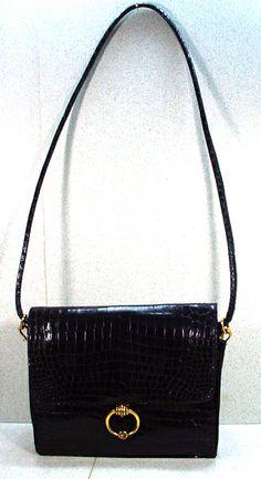 1960's, Vintage Hermes Black Crocodile Shoulder Bag
