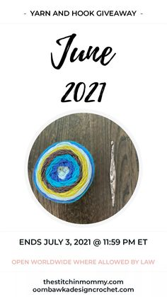 2021 June Yarn and Hook Giveaway 2021 June Yarn and Hook Giveaway - Ends July 3, 2021 at 1159 pm EST. Yarn: Caron Cakes and Hook: Furls Streamline Swirl Cookies N' Cream Giveaway not affiliated with Facebook or Instagram. #yarnandhookgiveaway #yarn #crochethook #furlsinf621