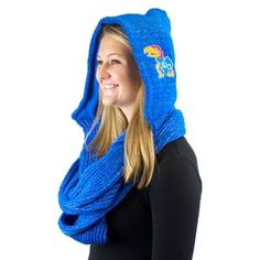Kansas Jayhawks Ladies Hooded Dazzle Infinity Scarf - Royal Blue
