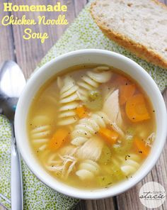 Homemade Chicken Noodle Soup - an easy recipe made with leftover chicken!