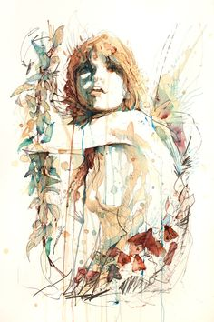 Artist Carne Griffiths works primarily with calligraphy ink, graphite and liquids, such as tea, brandy, vodka, and our personal favorite at EK…whiskey