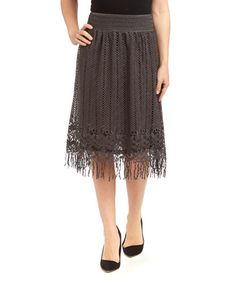 This Dark Gray Floral Lace Fringe Linen-Blend Skirt by Pretty Angel is perfect! #zulilyfinds