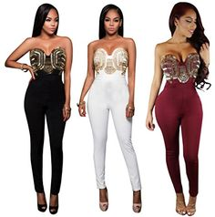 Womens Girls Sexy Vneck Strapless Hox Fix Zipper Back Wrapped Romper Jumpsuit Long Party Club Bandage Dress Black L -- See this great product.(This is an Amazon affiliate link and I receive a commission for the sales)