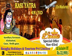 Diwali Special Kasi Yatra Tour Package for 4N/5D from Madurai.Book Now! Just Rs.32,999/- Only. Pl visit www.renghaholidays.com Madurai, Diwali, Tourism, Comic Books, Comics, Cover, Movie Posters, Comic Strips, Slipcovers
