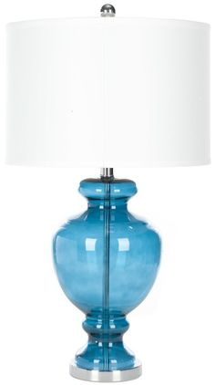 An urn-inspired glass base and classic drum shade give this lamp traditional appeal with a hint of fashion-forward style. Set it on your foyer console to cast a warm and welcoming glow, or add it to the master suite to anchor your beautiful bedside ensemble.
