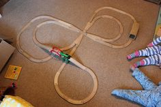 Different wooden train layouts