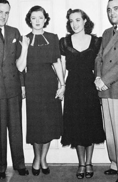 Joan Crawford visiting Myrna Loy on the set of Man-Proof, 1938