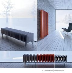 Pillou #radiator Authors: nonegrupa – T. A.  Krzempek, M.Szaban  Idea:  Inspired by classic cast iron water radiator. Solid form making a statement inside an interior. It is not invisible and stagey, on the contrary – its shape emphasizes its function. The radiator is constructed of repeated elements, resembling cushions, of which two outside modules are used as support.