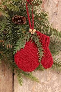 Knitted Mitten Ornament