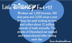 Little Fact 12 Amazing how clean they keep this park with all the people that are there each day. Disney World Facts, Disney Princess Facts, Disney Fun Facts, Disney Jokes, Disney Princesses, Disney Characters, Disneyland Secrets, Disney Secrets, Disneyland Trip