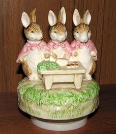 Beatrix Potter Musical Figurine by Schmid - Flopsy, Mopsy and Cottontail