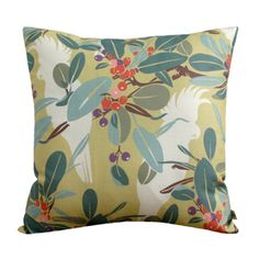 Image of Cushion Cover-Moreton Bay Fig & Cockatoo in Chartreuse