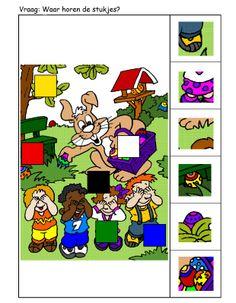 * Vraag: Waar horen de stukjes? 1-2 Speech Therapy, Perception, Puzzles, Worksheets, School, Speech Pathology, Alphabet, Communication Boards, Sensory Play
