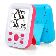 free shipping,Electronic temperature and humidity meter fashion clock household indoor thermometer snooze alarm clock