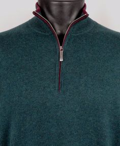 NWT Tommy Bahama Sweater Half Zip Cashmere Cotton Blend Mens M Island Luxe Green #TommyBahama #12Zip