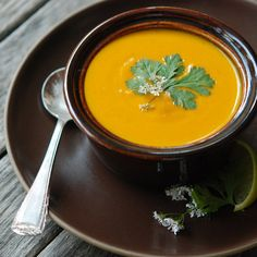Cream of Carrot Soup with Ginger and Curry // More Warming Soups: http://www.foodandwine.com/slideshows/warming-soups #foodandwine