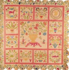 Rachel Meyer Quilt one of two of hers. If you know of a photo of the one, please let me know. Old Quilts, Antique Quilts, Vintage Quilts, Mini Quilts, Decoupage, Flower Quilts, Green Quilt, Quilt Border, Sampler Quilts