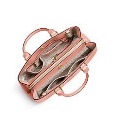 Savannah Large Patent Saffiano Leather Satchel by Michael Kors
