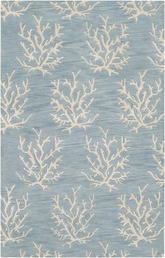 White coral on a powder blue background. 100% wool rug from the Escape Collection by Surya (ESP-3013)