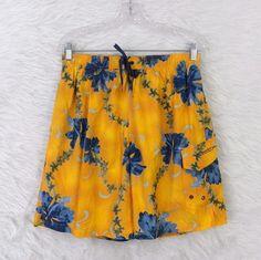 Mens SPEEDO Tropical Floral Elastic Waist Waterproof Pouch Swim Trunks SZ Large #Speedo #Trunks