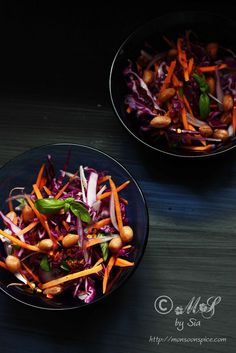 Spicy Red Cabbage Slaw or Salad with salted boiled peanuts and spicy chilli and lime olive oil dressing.  Recipe~ http://www.monsoonspice.com/2013/11/spicy-red-cabbage-slaw-or-salad-recipe.html
