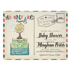 Vintage Travel Themed Baby Shower Invitation Postcard - baby gifts child new born gift idea diy cyo special unique design Airplane Baby Shower, Baby Shower Niño, Baby Shower Vintage, Baby Shower Gifts, Baby Gifts, Newborn Gifts, Baby Airplane, Baby Presents, Vintage Travel Themes