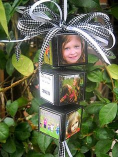 Darling Christmas Ornament Idea. You need 3 wooden blocks, ribbon, 11 small pictures that fix your blocks, paint, sanding paper, an electric drill, and a text page with child's name, age, year.