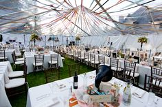 Gorgeous ceiling drapery of ribbon - genius design! #wedding #reception #tent